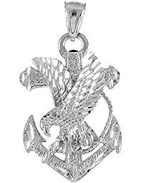 10 Kホワイトゴールド海軍イーグルアンカーネックレスペンダント