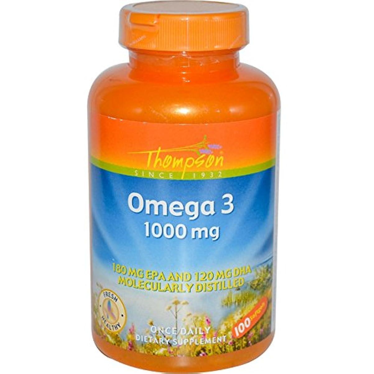 脱走余暇無能海外直送品 Thompson Nutritional Products Omega-3 Fish Oil, 100 Sftgls 1000 MG