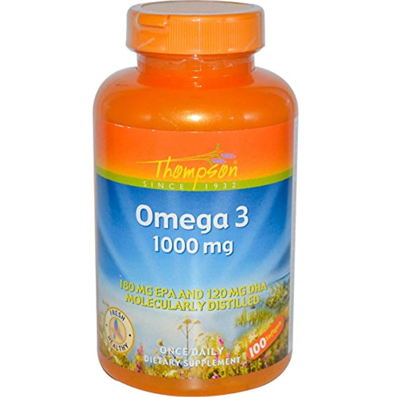 主権者浪費フィット海外直送品 Thompson Nutritional Products Omega-3 Fish Oil, 100 Sftgls 1000 MG