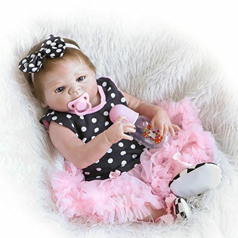 GirlシリコンフルボディビニールRebornベビー人形赤ちゃんリアルなマグネットおしゃぶりおもちゃ22インチ