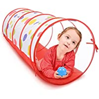 子供用折りたたみ式再生トンネルインドアとアウトドアゲームLovelyレッドカラフルドットポップUp Rounded通気性おもちゃトンネルfor Children