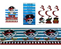 Pirate Themed Ahoy Matey Party Supplies and Decorations 8 ct. Invitations Table Cover 25 ct. Cello Bags and 3 ct. Swirls Hanging Decorations 【You&Me】 [並行輸入品]