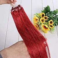FidgetGear 7A 16-26インチのRemyの人間の毛髪延長の容易なループマイクロリングシリコーンビーズ 赤