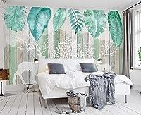 Yosot 3D地中海の葉エルクの手は木製の板張りの壁を描いたカスタマイズ可能な大きな壁紙の壁紙-450cmx300cm