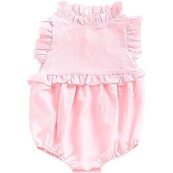 8c4bda9dc14d0 ZooArts ベビー ロンパース 女の子 新生児服 女児 夏 無地 袖なし カバーオール ボディースーツ 出産祝い