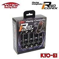 協永産業 Kics レーシングコンポジットR40 アイコニックス M12×P1.5 ブラック/ブラック 20個入 (ナット16p+ロックナット4p) キャップレス