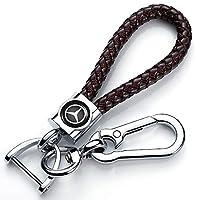 JIYUE Genuine Leather Car Logo Keychain Key Chain Keyring Family