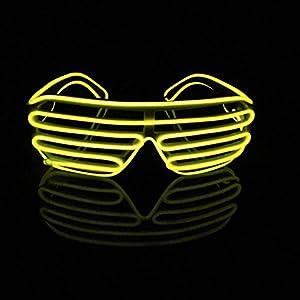 選べる 5色 EL 光る サングラス LED メガネ パーティー シーン の 必須 アイテム 余興 ダンス にも(イエロー)