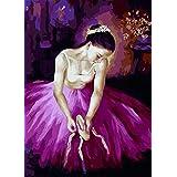LoveTheFamily 油絵 数字キット塗り絵 手塗り DIY絵 デジタル油絵 数字油絵 40x50cm ホーム オフィス装飾 - パープルスカートダンサー