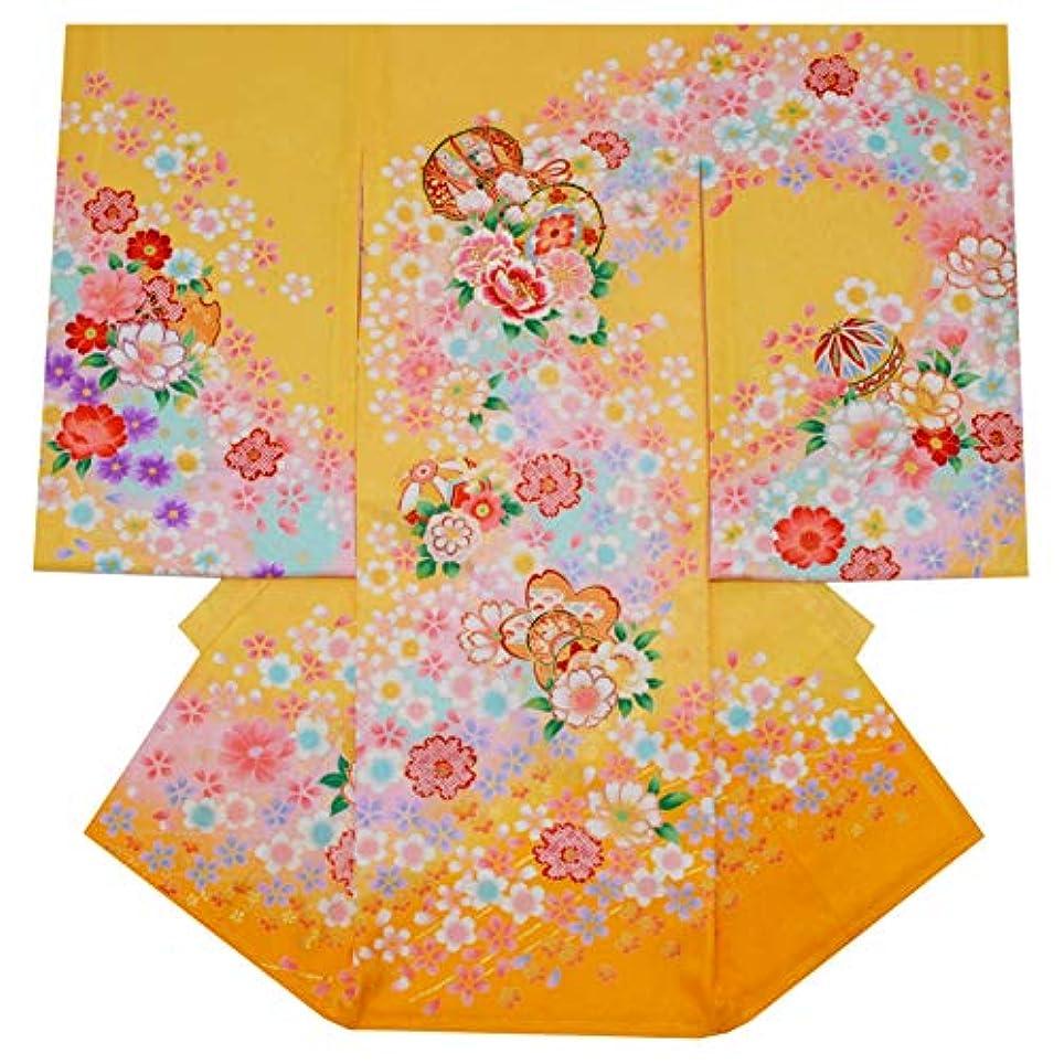 貫通センター自分のためにお宮参り 女の子 着物 初着 産着 正絹 鈴 鼓 黄色 桜 女児 祝着 一つ身 着物タウン hitotsumi-00099