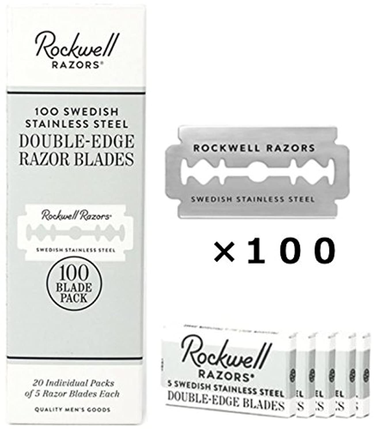脅かす繊維デマンドロックウェル 両刃 替刃 100枚 (5枚入×20個) セット スウェーデン製 お買い得 パック Rockwell Razors