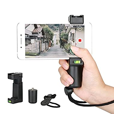 Eoogere プロフェッショナル ハンドルグリップ スマホ用グリップ ビデオライト マイク 設置可能 三脚マウント&コールドシューマウント ビデオリング リストストラップ付き