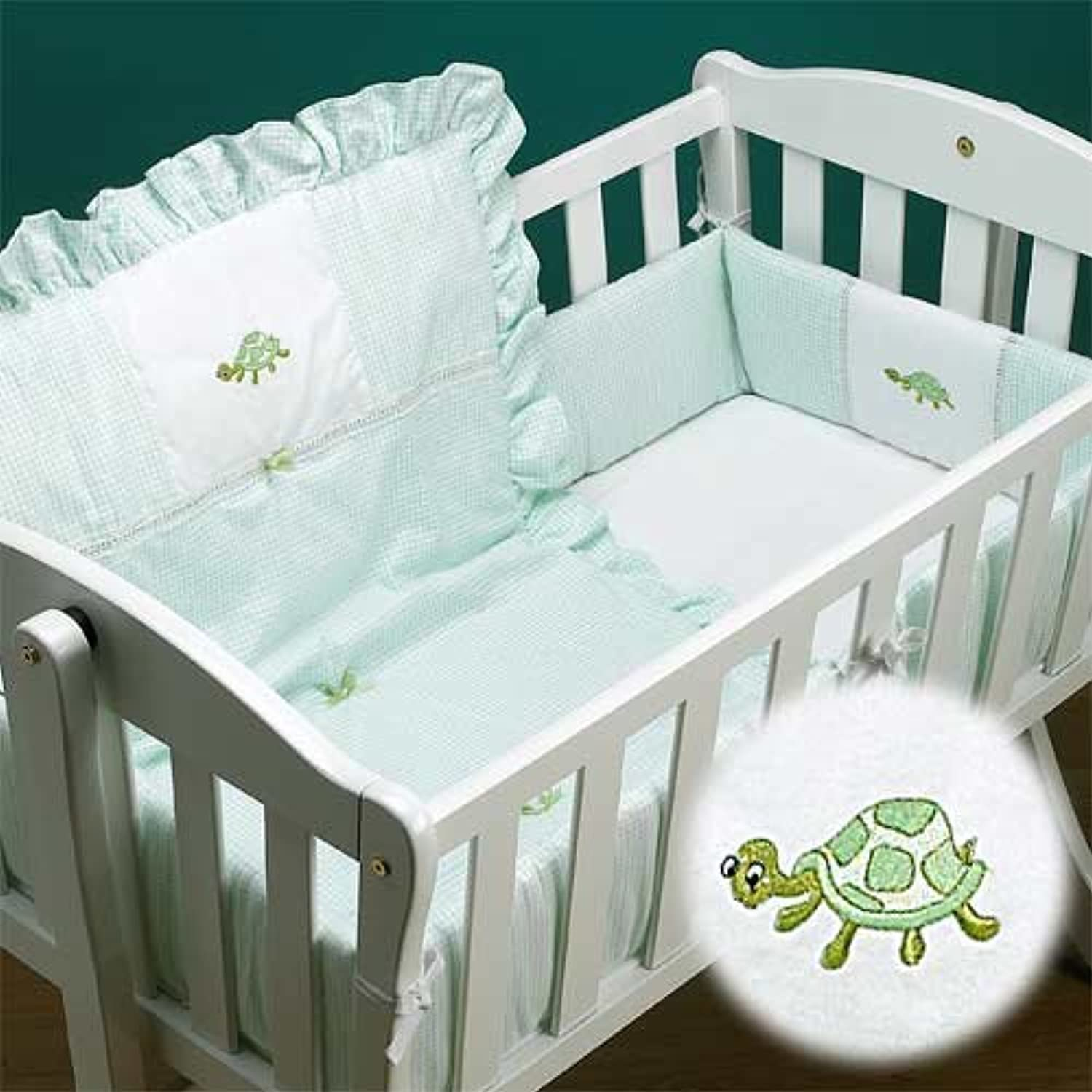 Baby Doll Bedding Gingham Mini Crib/ Port-a-Crib Bedding Set, Turtle by BabyDoll Bedding
