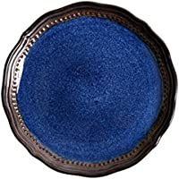 セラミックフルーツサラダパスタボウルクリエイティブディッシュ深皿レトロスープラーメンボウルミックスサビングボウルセットオーブン電子レンジセーフブルー (Color : Small dish)