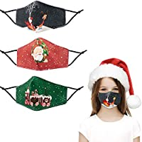 Fashion Printed Christmas Cotton Cloth Mask Reusable for Kids, Breathable Face Cover Decorations Gift Adjustable Washable