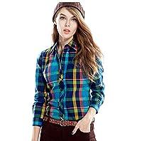 Yuelian(TM) レディース 長袖 Tシャツ チェック柄 格子柄 シャツ フロントボタン イングランド風 (XLサイズ:胸囲:98CM、肩幅:40CM, 4 サファイア)