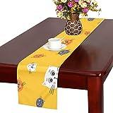 GGSXD テーブルランナー 幼い オレンジ色猫 クロス 食卓カバー 麻綿製 欧米 おしゃれ 16 Inch X 72 Inch (40cm X 182cm) キッチン ダイニング ホーム デコレーション モダン リビング 洗える