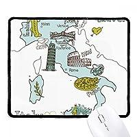 イタリアシティマップLandmark国立フラグパターンノンスリップマウスパッドゲームOfficeブラックtitchedエッジギフト