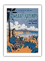 マイハワイの日差し - L.Wolfe Gilbert&Carey Morganの歌詞 - ヴィンテージ・ハワイアン・シート・ミュージック によって作成された スターマー c.1916 - プレミアム290gsmジークレーアートプリント - 30.5cm x 41cm