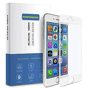 Arbalest iPhone6/6s 用 フィルム ブルーライトカット 3Dタッチ対応 3D曲面 薄型 日本板硝子ガラス 硬度9H 0.26mm PET ソフトフレーム 強化ガラスフィルム 全面 白