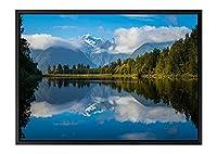 ブルーの湖、緑の木 風景の写真 黒の木製フレーム装飾画 アートキャンバス印刷ポスター(35cmx50cmx3.5cm)