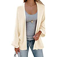 Sherrylily Womens Loose Open Front Kimono Cardigan Cape Long Sleeve Solid Color Sweater Cloak
