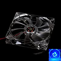 Luquan 8cmブルーLEDライトCPU冷却ファンコンピュータPCクリアケースクアッドheatsink-