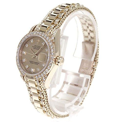 ROLEX(ロレックス) 69158G ダイヤモンド オイスターパーペチュアル デイトジャスト 腕時計 K18イエローゴールド/K18YG/ダイヤモンド レディース (中古)
