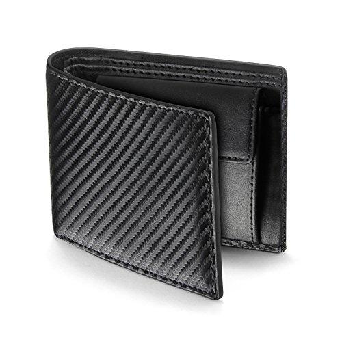 Aodoor 財布 革 メンズ 二つ折り サイフ カーボンレザー コインケース ウォレット 小銭入れ カード収納 財布 プレゼント ブラック