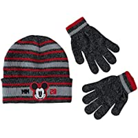 Disney Mickey Mouse Boys Beanie Knit Winter Hat And Mitten Set - Toddler Size [4015] (Boys, MM Grey)