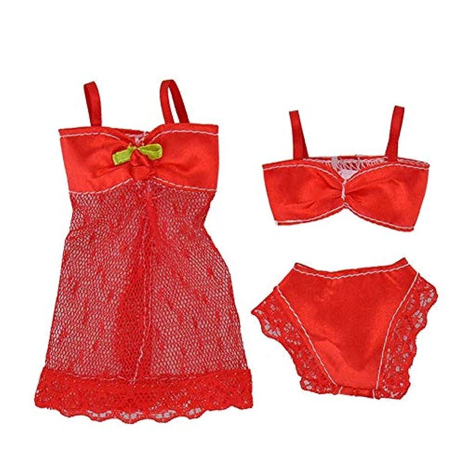 田舎虐待グラスRabugoo ドールランジェリーナイトウェアレースナイトドレス+ビキニセット29センチメートル人形の下着 red Suitable for 29CM dolls to wear