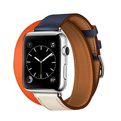 ECpro アップルウォッチレザーバンドベルトAppleの時計バンドシリーズ4との互換性はいユニセックス40/44ミリメートル(40ミリメートル、インディゴ/呉/オレンジ/重巻き) 40ミリメートル インディゴ/クレ/オレンジ/二重巻き