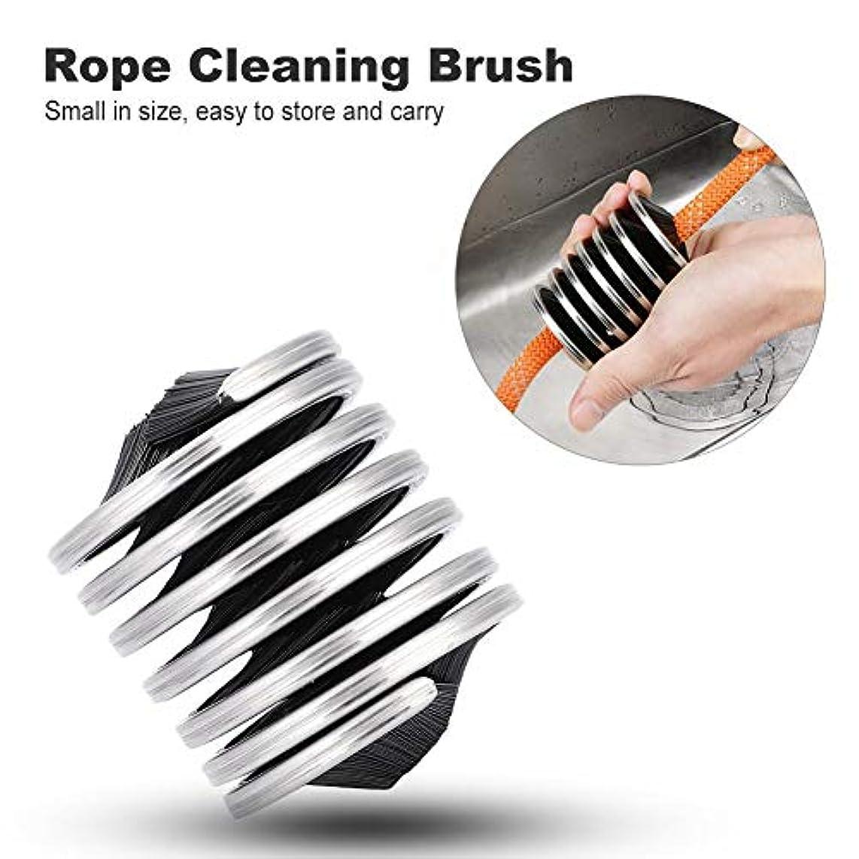 風刺歌早いクライミング ロープブラシ クリーニング&洗濯ツール アウトドア 登山ロープ用 ステンレス携帯性 清潔アクセサリー ブラック