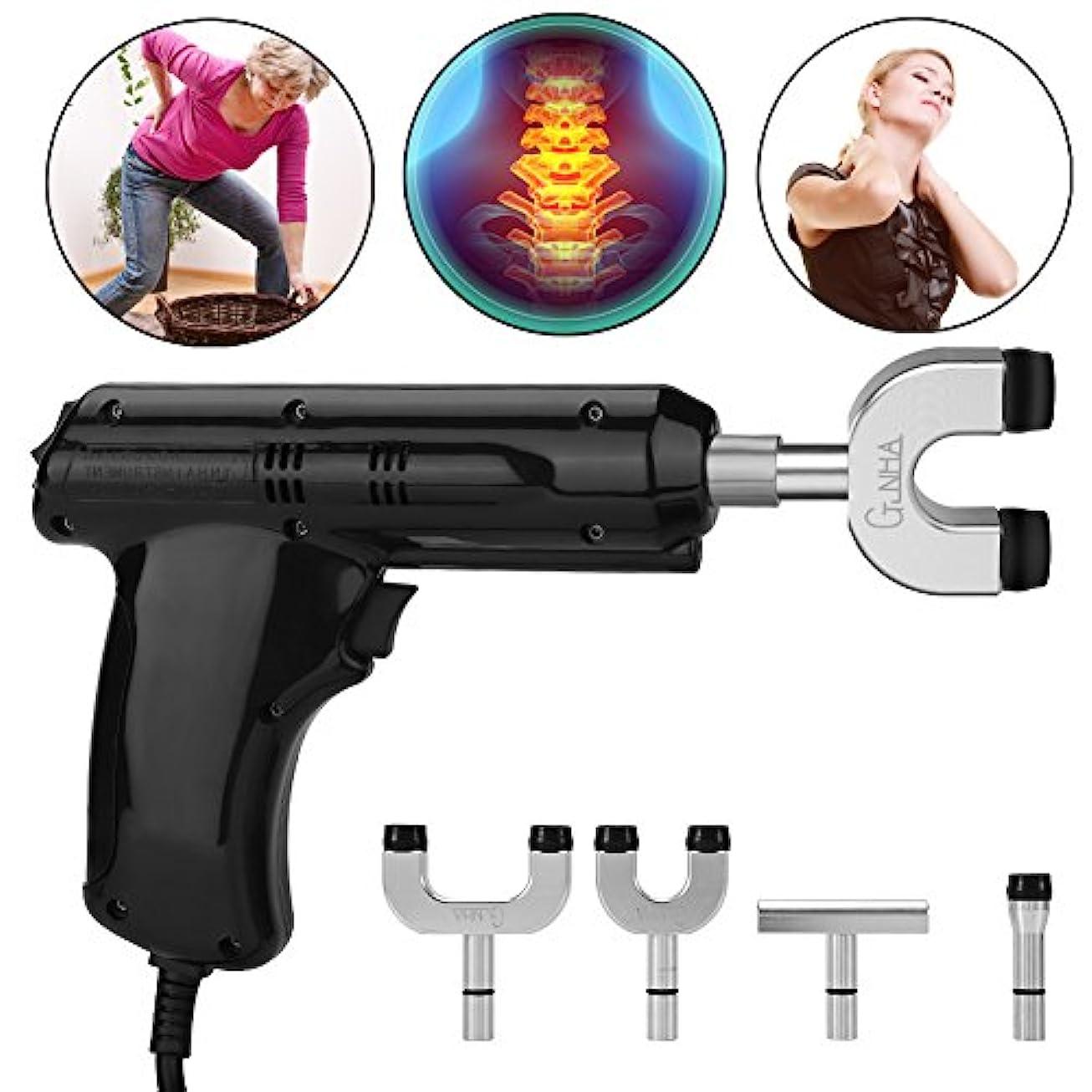 ワーディアンケース光電ペインティング電動カイロプラクター、カイロプラクター、背骨と胸郭を調整するための身体緩和ツール、黒