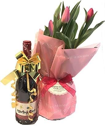 今月のワインセット チューリップ5号鉢 と コトーデュ ポンデュガール キュヴェデ ガ レ 2015 花ギフト 誕生日プレゼント