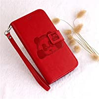 HDTech iPhone7/8 ケース カバー 手帳型 財布型 おしゃれ パンダ 図柄 様式 カード入れ 財布カバー マグネット開閉式 スタンド機能 耐衝撃 防塵 耐久性 装着やすい 吸着の機能 ケース カバー (iPhone7/8, レッド)