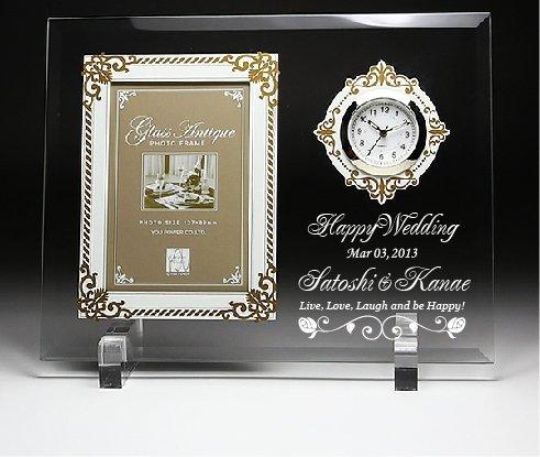 アトリエエイム アンティーク フォトフレーム時計付き 縦型 面取り 平面ガラス