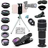 Bostionye 携帯 レンズ (高品質HD10 イン 1 レンズ キット 20倍 シングル レンズ ズーム 望遠鏡) 0.63 広角 15X マクロ 198 ° フィッシュアイ 2X 望遠 CPL フィルタ 万華鏡 スターフィルタ スマホレンズ 三脚 アイ マスク