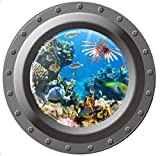 ウォールステッカー 潜水艦の窓 マリン 3D ポスター 取外し簡単 シール 42×42cm (海中1)