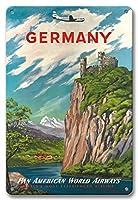 22cm x 30cmヴィンテージハワイアンティンサイン - ドイツ - ライン川 - パンアメリカン航空 - ビンテージな航空会社のポスター c.1950s