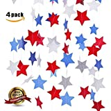 BELLA PRODUCTS SEASON Star Garland Party Decorations (Patriotic) Red White and Blue Decorative Hanging D?cor | Celebrate Birthday PJulyarties Fourth of American Holiday Streamers 4 P [並行輸入品]