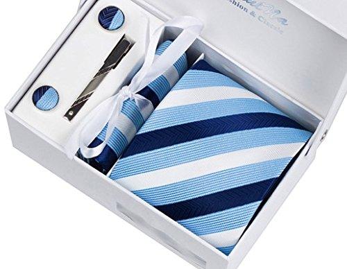 ネクタイ メンズ 4点セット ネクタイピン チーフ カフス セット ネイビー 紺 水色 スカイブルー ストライプ柄 ビジネス 結婚式 フォーマル 1052