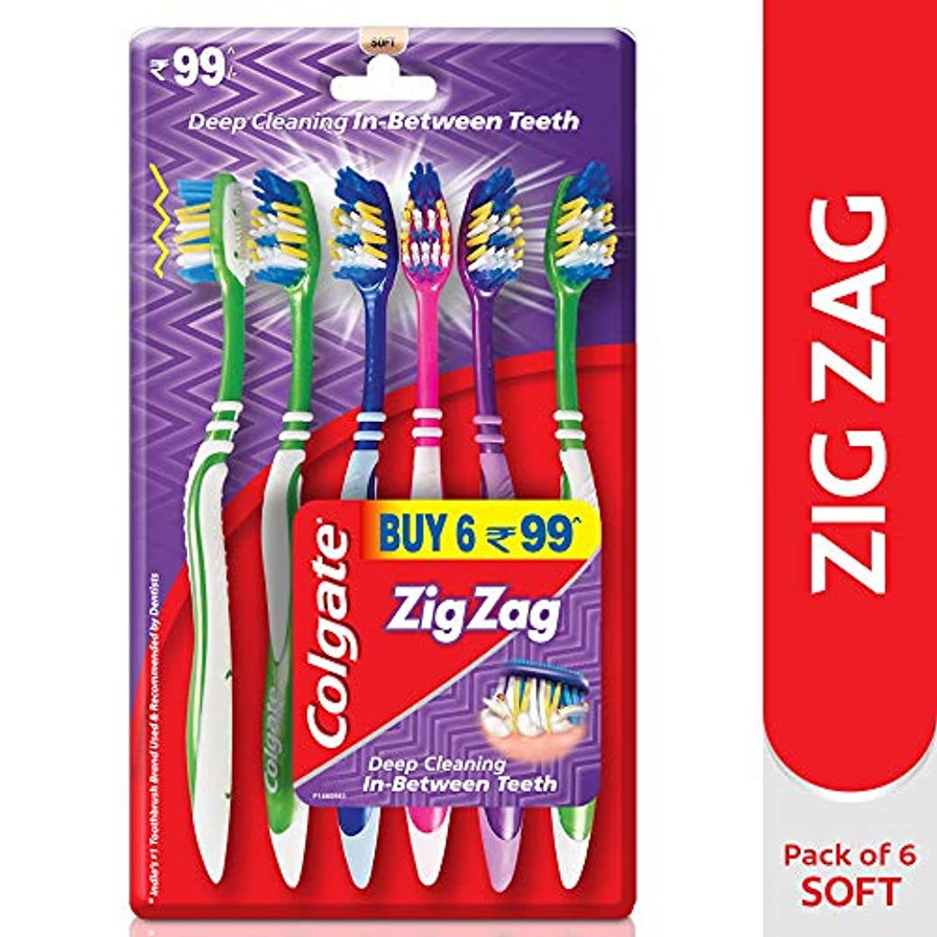 喜び球体優雅Colgate ZigZag Soft Bristle Toothbrush - 6 Pcs