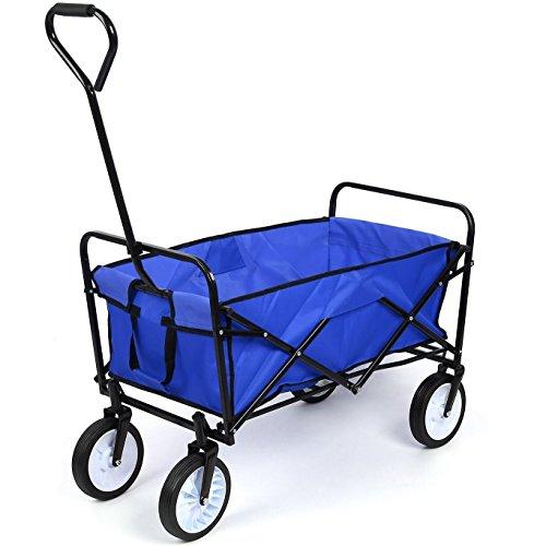 HOMFA カート キャリーカート アウトドアワゴン キャリー ワゴン 買い物 ショッピング カート 折りたたみ 360度回転可能 荷物運び 台車 ハンドカート ガーデンカート 多用途 耐荷重80kg ブルー