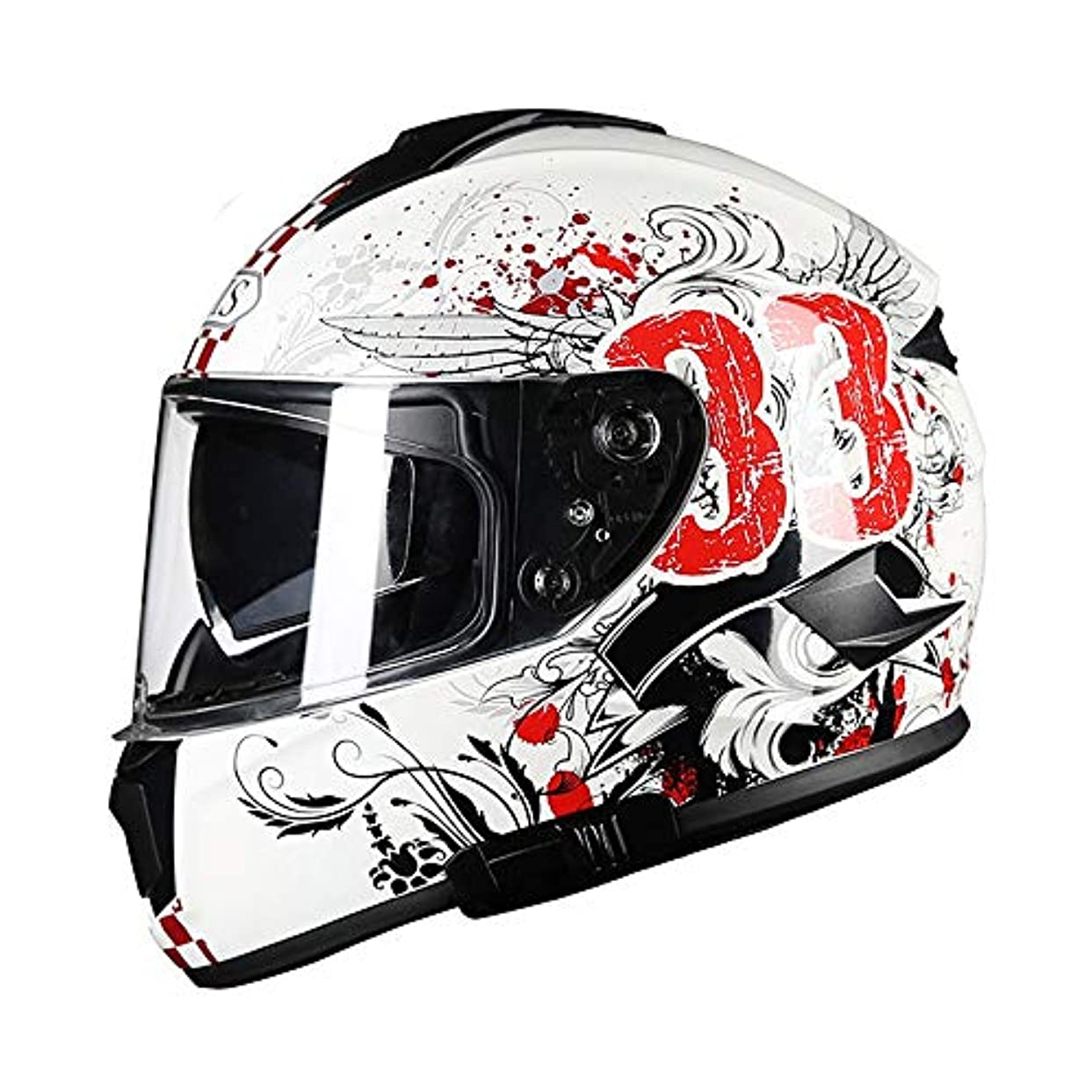 外科医理論的欠員HYH Absホワイトオートバイヘルメット男性フルカバー四季機関車電気自動車フルフェイスヘルメット防曇ダブルレンズ赤黒落書き いい人生 (Size : XXL)