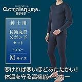 ひだまり健康肌着 チョモランマ 紳士長袖丸首シャツ+ズボン下セット ネービー/M kc-qm921qm951