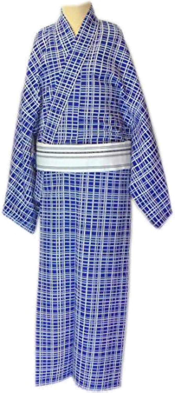 男物仕立上 小紋 単衣仕立 肩ハギ付  紺地 格子柄 大きいサイズ