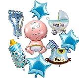 NANIWANOPANDA 浪速のパンダ ベビーシャワー 飾り 御出産 お祝い パーティー バルーン 男の子 ブルー 赤ちゃん 誕生日 ハーフバースデー