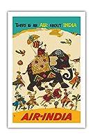 エア?インディア - インドについての空気がある - ハウガのマハラジャ(馬車)、リーガルのゾウ - ビンテージな航空会社のポスター c.1965 - プレミアム290gsmジークレーアートプリント - 61cm x 91cm