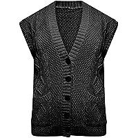 DIGITAL SPOT Womens Cable Knitted Sleeveless Button Pocket Cardigan Ladies Grandad Fancy Waistcoat